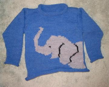 Nephew's elephant sweater